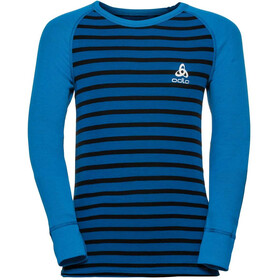 Odlo Active Warm LS Rundhalsshirt Kinder directoire blue/black/stripes
